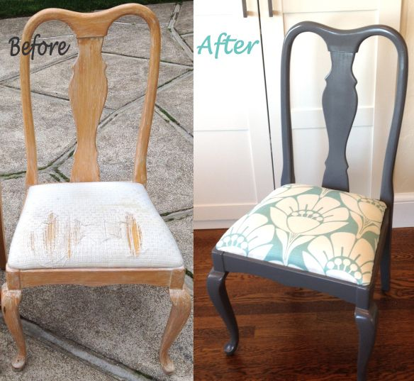 Ive Been Waiting To Finish This Queen Anne Chair Makeover I Love The Grey Paint And Graphic Floral Print In Sky Blue White
