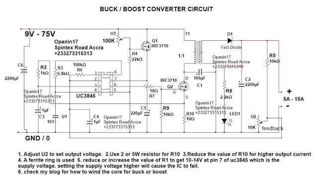 Step Up Step Down Dc Converter Circiuit In 2020 Electronic Schematics Circuit Converter
