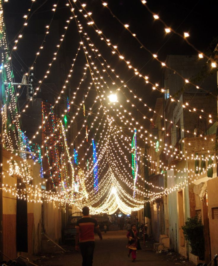 Eid milad un nabi. Street lights across the Muslim world in celebration of the blessed Prophet Muhammed, Mercy to the Worlds, pbuh.