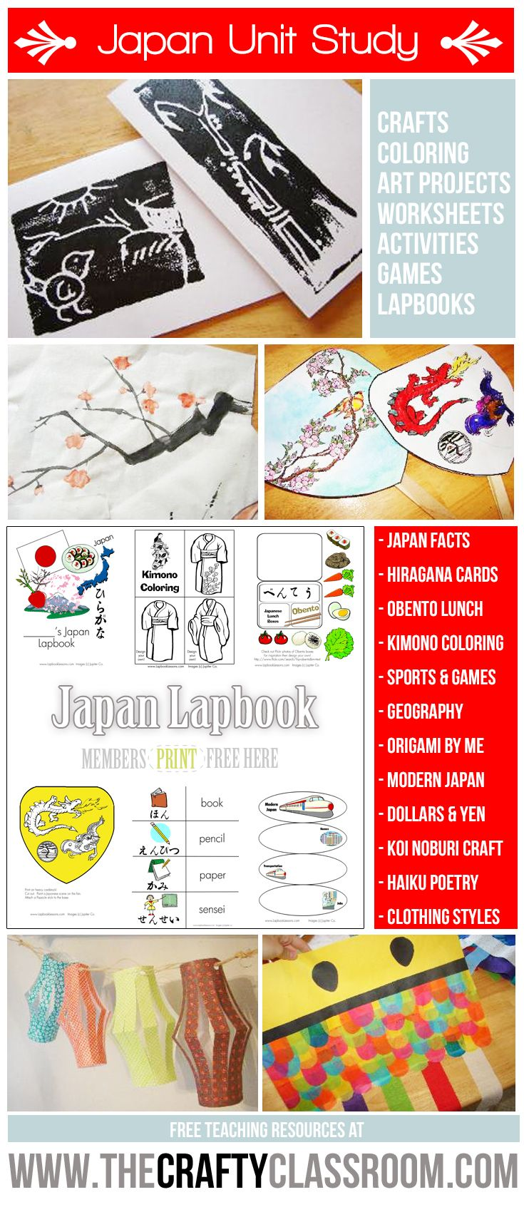 Free Japan Unit Study Resources!  Crafts, Activities, Coloring Pages, Lapbooking Elements, Games and more at The Crafty Classroom.