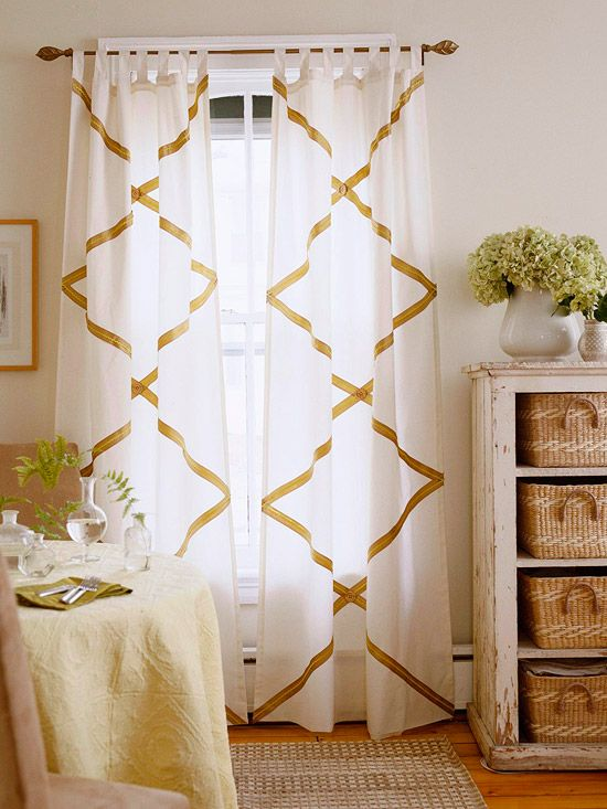 DIY Rickrack Panels: Decor Ideas, Living Rooms, Natural Colors, Old Dressers, Interiors Design, No Sewing Curtains, Window Treatments, Diy Curtains, Design Rooms