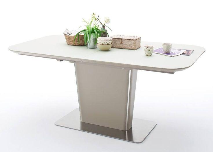 Tisch Ubora 140x85 Säulentisch ausziehbar Taupe Matt + Edelstahl 22448