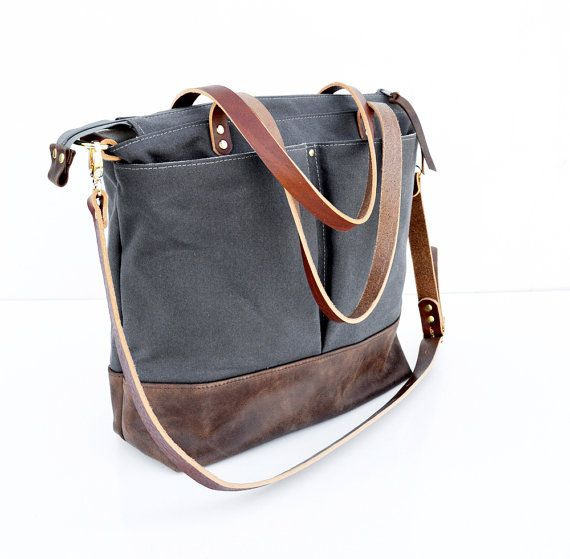 Grey waxed canvas and Dark Brown leather diaper bag nappy bag tote bag - too small :(