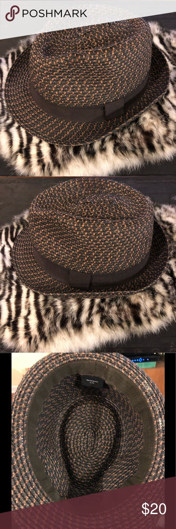 Brown & Tan Check Straw Fedora size L/XL Brown and Tan Check Straw Fedora Hat size L/XL! Great condition!  Please make reasonable offers and bundle! Ask questions :) Accessories Hats