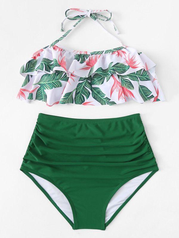 d39b54ba39 Jungle Print High Waist Bikini Set -SheIn(Sheinside) #travel#style ...