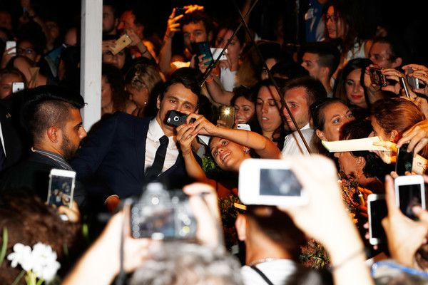 James Franco Photos Photos - James Franco takes a selfie with fans at the premiere of 'In Dubious Battle' during the 73rd Venice Film Festival at Sala Giardino on September 3, 2016 in Venice, Italy. - 'In Dubious Battle' Premiere - 73rd Venice Film Festival