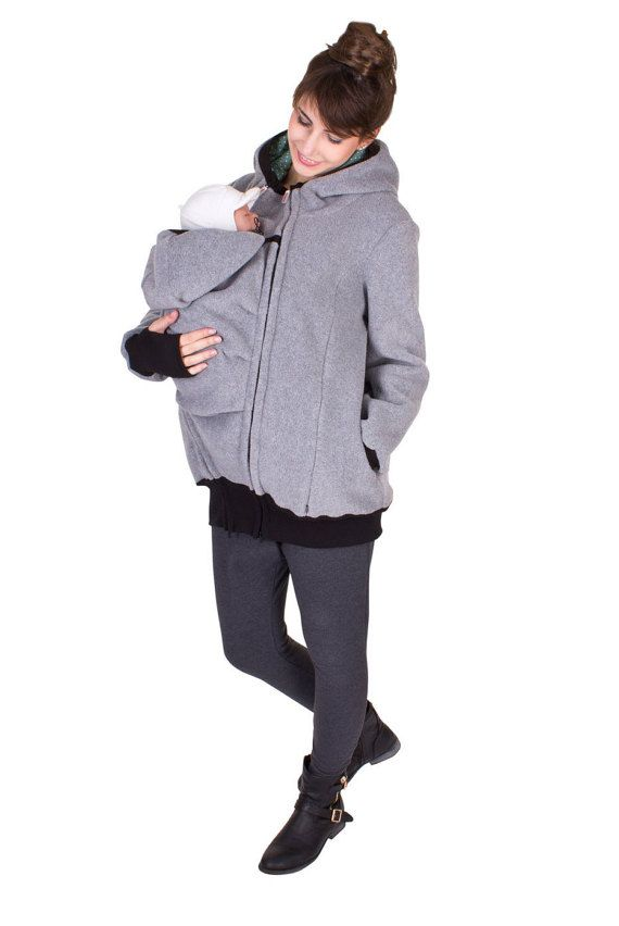 Viva la Mama | Baby Carrying Jacket ARCTICA (3in1- grey). Hoody for pregnancy, maternity, baby wearing and everyday use. The baby will be save and warm in this beautiful baby wearing jacket. A perfect present for birth or baby shower. :)