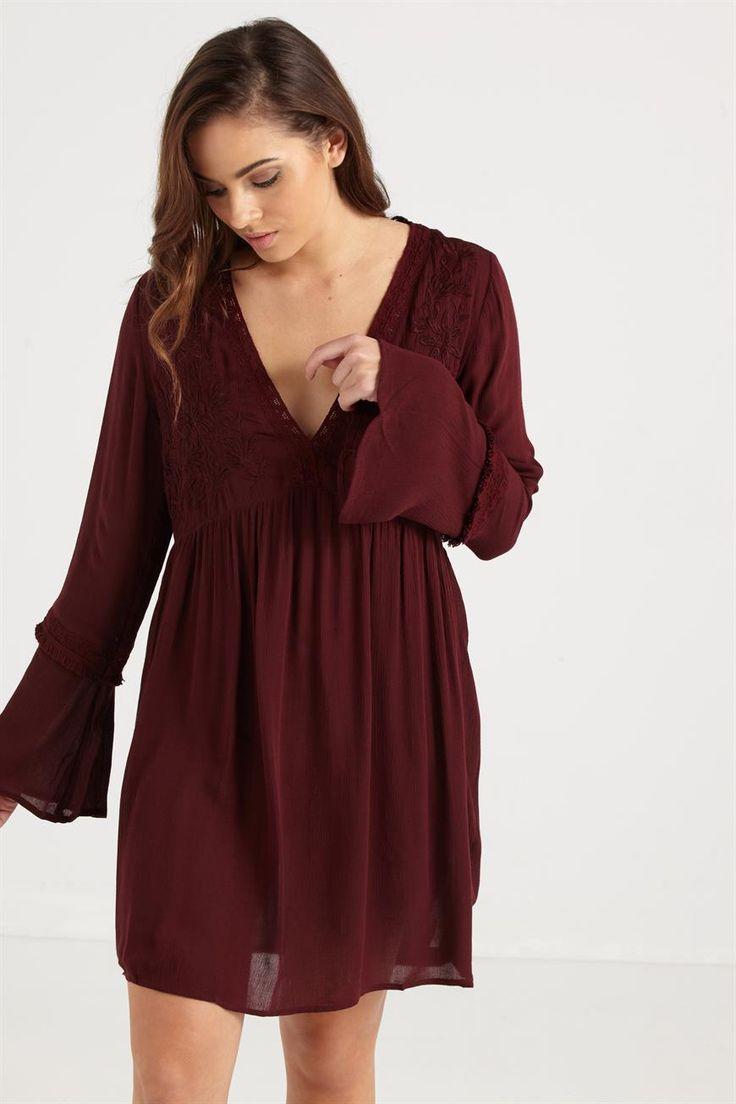 wv deena embroidered smock dress