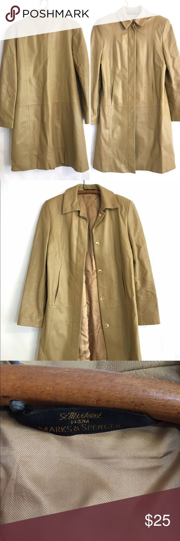 St. Micheal tan camel leather coat jacket St. Micheal tan camel brown leather coat  Bust: 18.5 Length: 28 Shoulder to cuff: 24 Shoulder: 17 marks & spencer Jackets & Coats