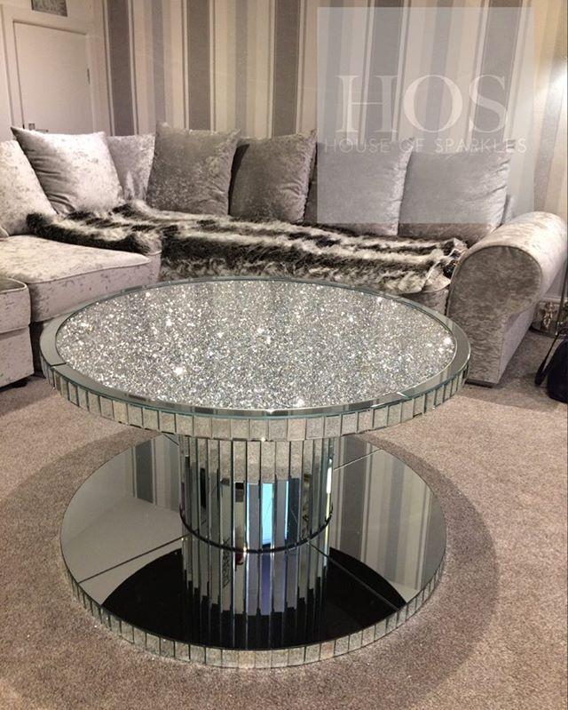 Diamond Crush Circular Coffee Table Love This Customer Home Photo How Beautiful Is Homegoals Coffeetable Diamondcrush Glamfurniture Glam
