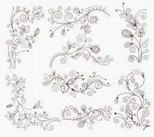 Swirl Floral Decorative Elements Vector Graphic Set