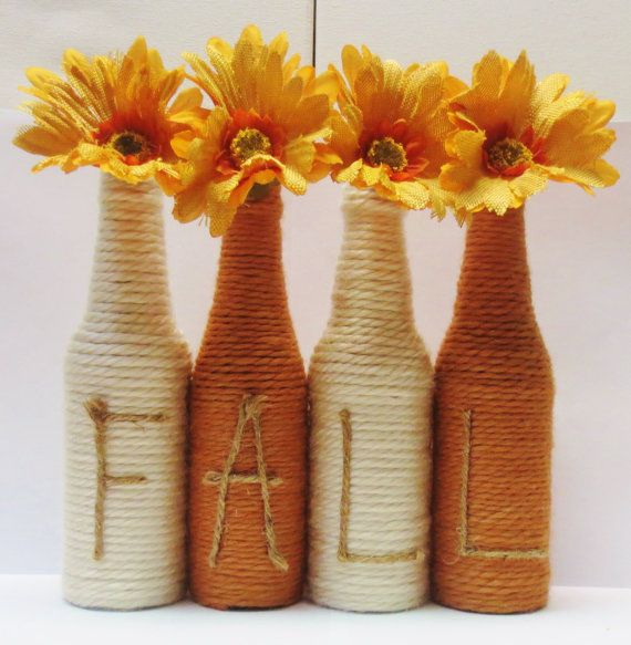 Hey, I found this really awesome Etsy listing at https://www.etsy.com/listing/248735077/yarn-wrapped-twine-bottles-fall-decor