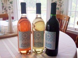 Custom wine bottle labels, seen on thebudgetsavvybride.com