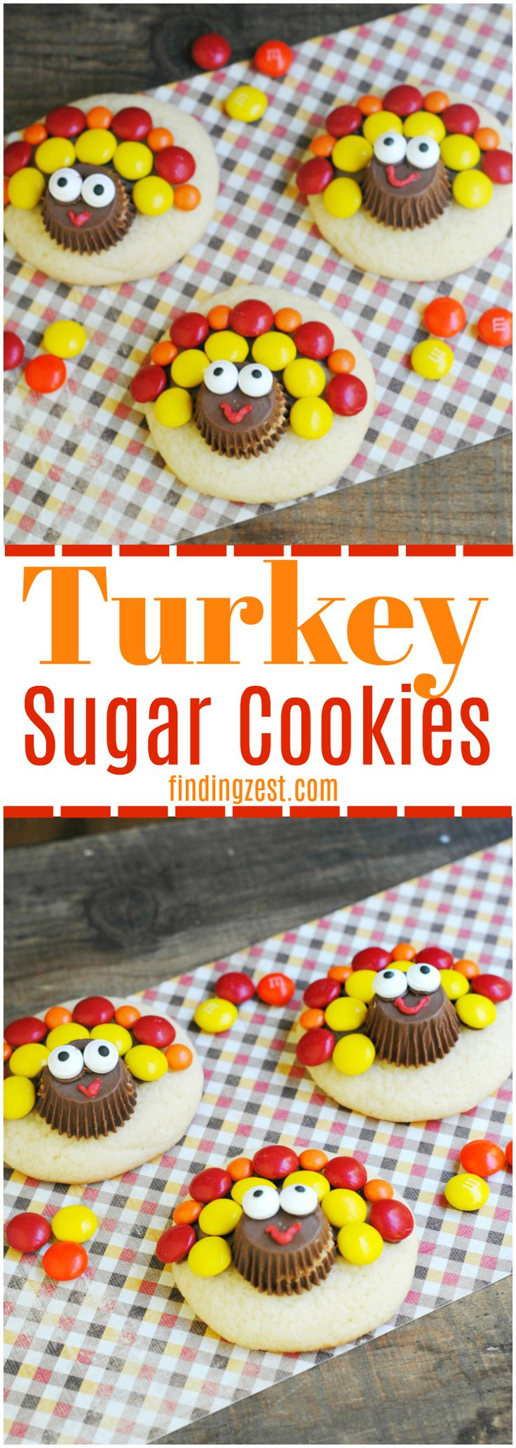 Check out these adorable turkey sugar cookies for Thanksgiving featuring peanut butter cups and chocolate candies. This is a perfect activity for kids and a great way to use up Halloween candy!!