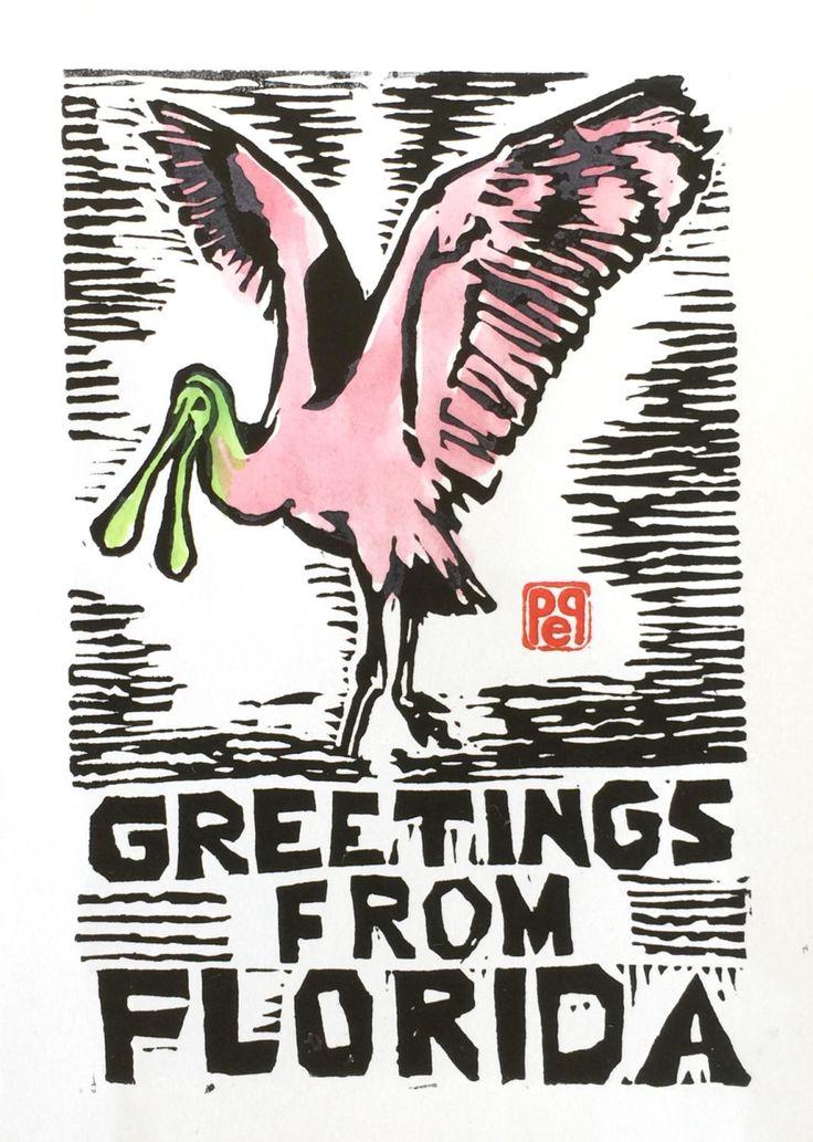 Florida Greetings Pink Spoonbill Bird Note Card hand-made linocut artist print by PollysStudio on Etsy