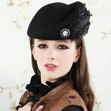 vrouwen 's van hoge kwaliteit zwarte veer decoratie wol baret – EUR € 15.26. Ook in ROOD.