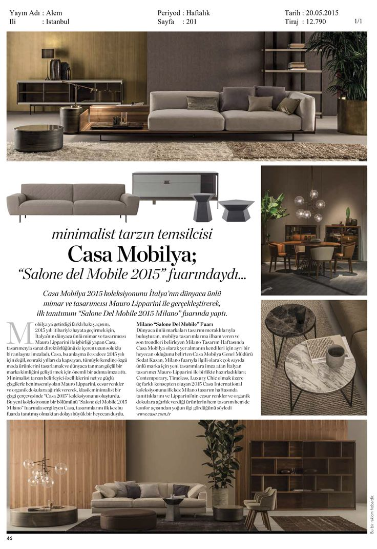 Alem Magazine Turkey - Mayıs 2015 #casafurniture #casainternational #press