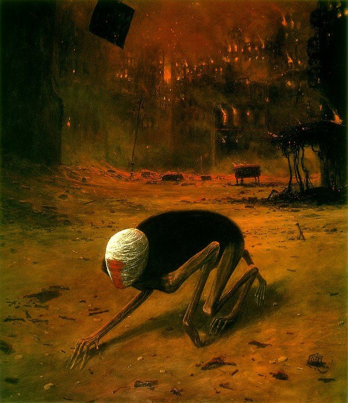 a Polish artist, Zdzisław Beksiński, who made a name for himself with his dystopian surrealism paintings, filled with post-apocalyptic imagery and nightmarish creatures.