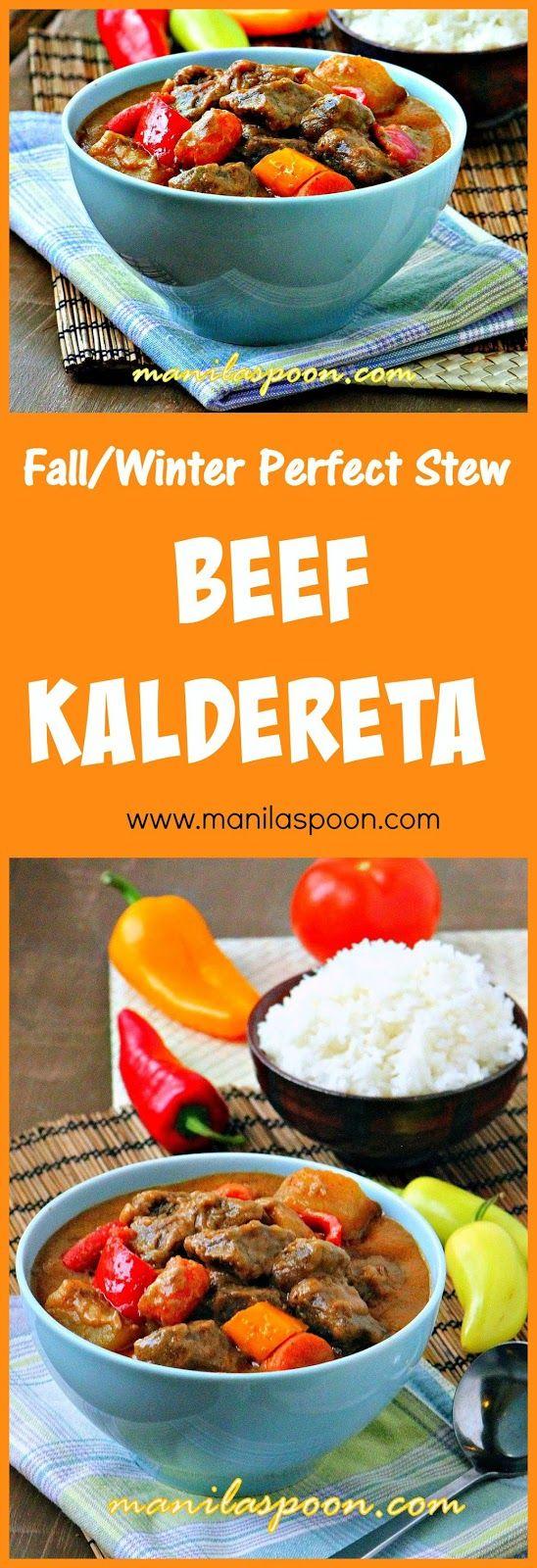 Creamy, nutty, spicy and delicious beef chunks stewed in coconut milk.This tasty beef stew is comfort food at its best - BEEF KALDERETA #caldereta #kaldereta