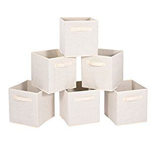 Amazon.com: Collapsable Storage Bins, MaidMAX Set of 6 Foldable Nonwoven Cloth Organizers Basket Cubes with Dual Handles for Gift, Beige: Home & Kitchen