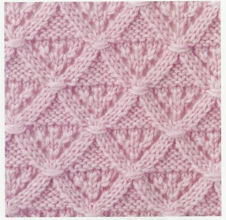 Lace Knitting Stitch #35 | Lace Knitting Stitches  (Puntos envueltos: pasar puntos marcados de la aguja izquierda a la aguja auxiliar, envolverlos con la hebra de trabajo, pasarlos a la aguja derecha)