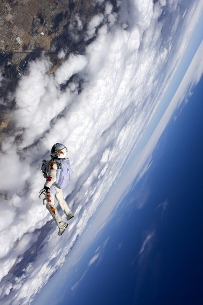 Felix Baumgartner breaks sound barrier through skydiving in November. I chose this picture because it shows the magnitude of his drop.