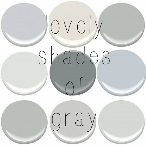 BENJAMIN MOORE: BERGMAN GRAY (tis is a color I made by mixing 6 different grays post HERE), CLASSIC GRAY , COVENTRY GRAY, HORIZON,  SHAKER G...