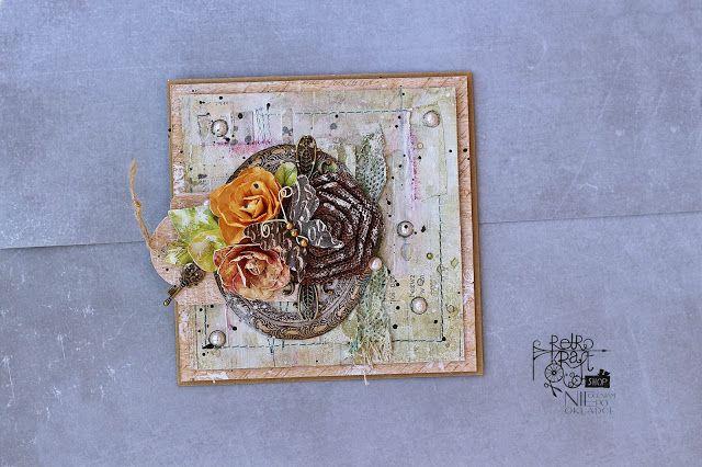 Retro Inspiracje: Bałaganiarska kartka Ani / Retro Inspirations: Ania's messy card