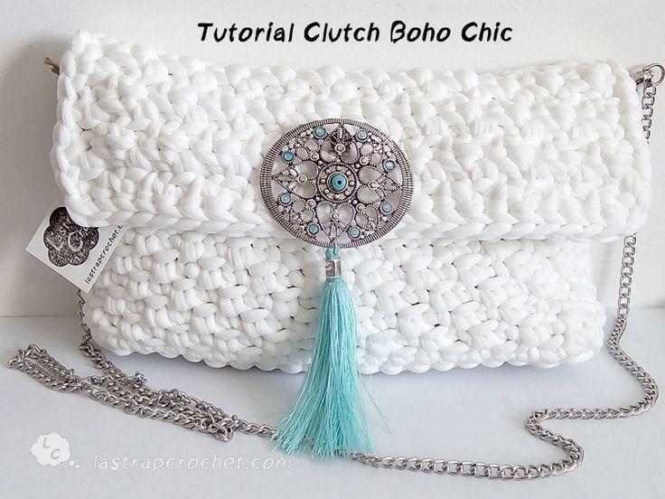 Tutorial Clutch Boho Chic con trapillo pluma by http://www.lastrapcrochet.com/clutch-boho-chic/                                                                                                                                                                                 Más