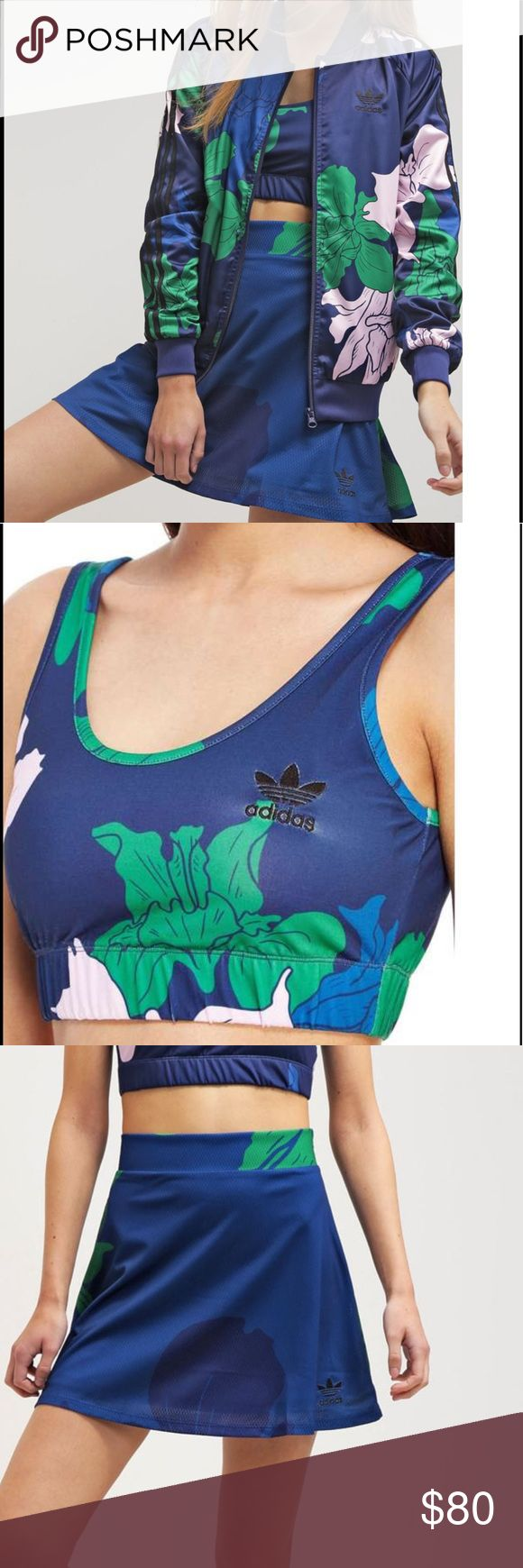Adidas Originals floral engraving set NWT set. Skirt is a small and sports bra is a large. I am a 36B and fit this with my padded bra under for a fuller look! I was going to wear in a photoshoot but changed outfits! adidas originals Other