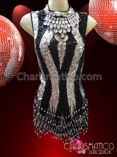 f7b4616b354d CHARISMATICO Black And Silver Stripe Sequin Dress With Beaded Fringe ...