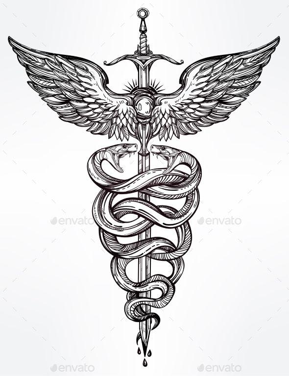 Caduceus Symbol Of God Mercury Illustration Vector EPS
