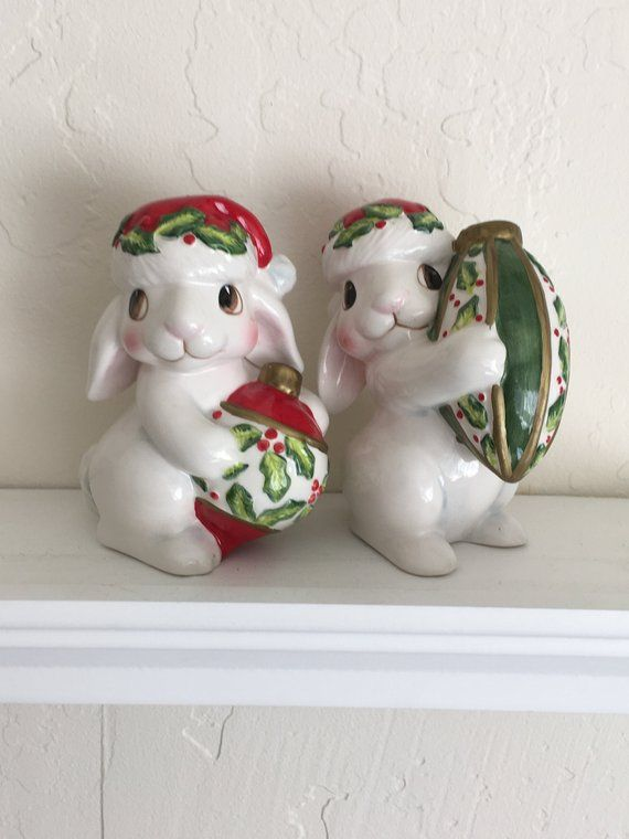 Fitz and Floyd Christmas Bunny Blooms, Salt and Pepper Shakers