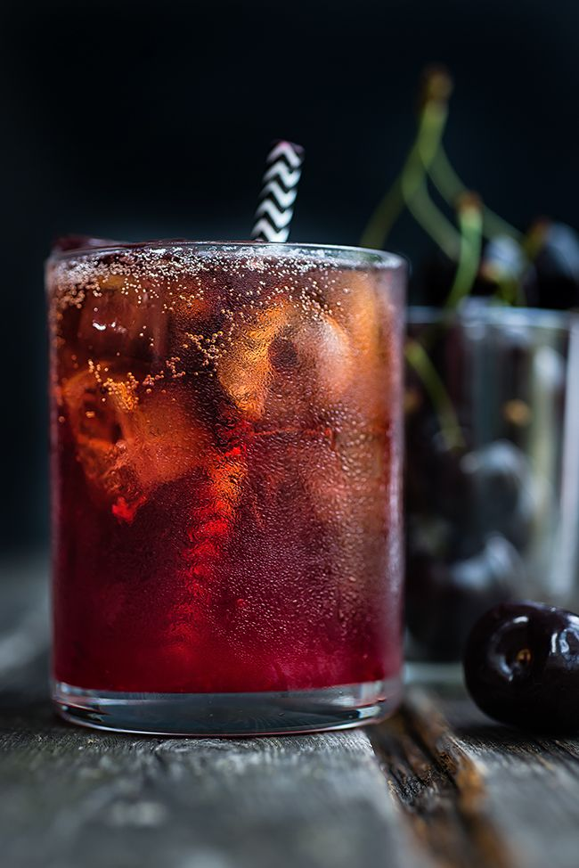Black Cherry Bourbon Cola Smash Cocktail