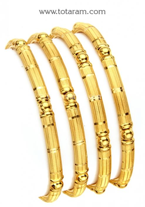 22K Gold Bangles - Set of 4 (2 Pairs): Totaram Jewelers: Buy Indian Gold jewelry & 18K Diamond jewelry