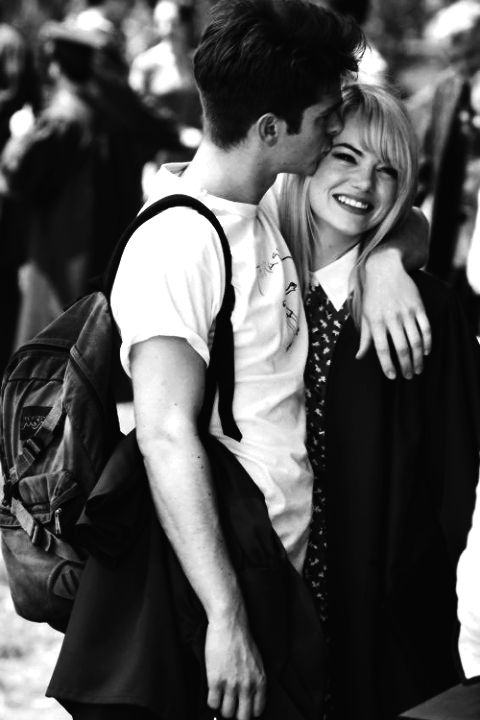 Andrew Garfield and Emma Stone. I can't even handle the level of cuteness in this photo.