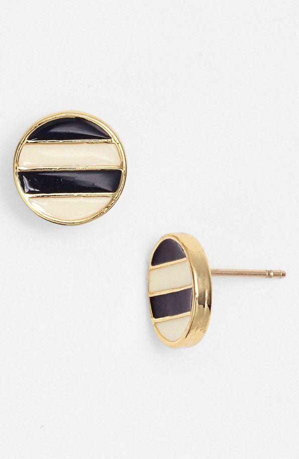 Kate Sapde Navy + White Stripe Enamel Earrings