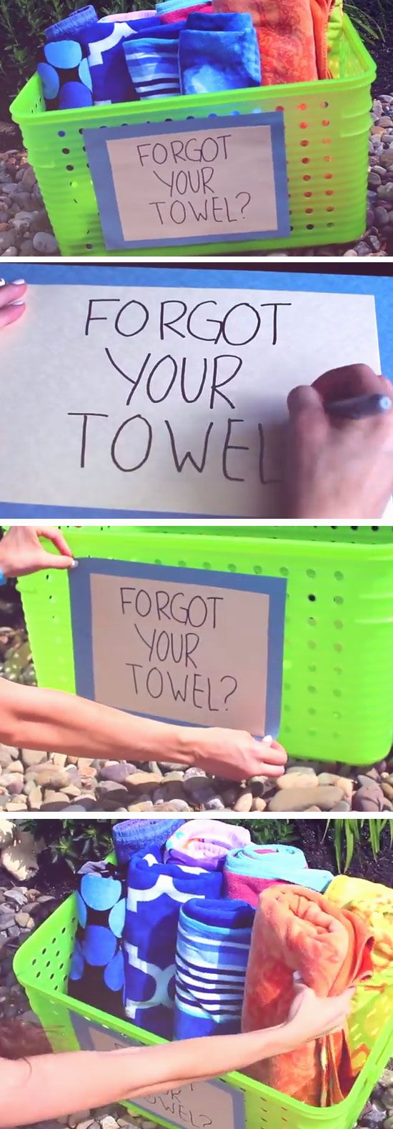 Spare Towel Basket | DIY Pool Party Ideas for Teens                                                                                                                                                      More