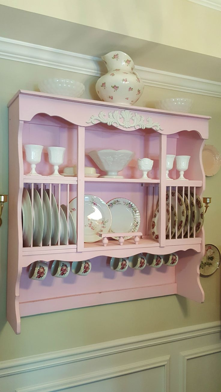 DIY Shabby Chic / French Country Wall Mounted China Cabinet done in Valpar Rosy Cheeks (pink)  Click for Detailed Instructions:  https://www.youtube.com/watch?v=P9YXBeth1JQ