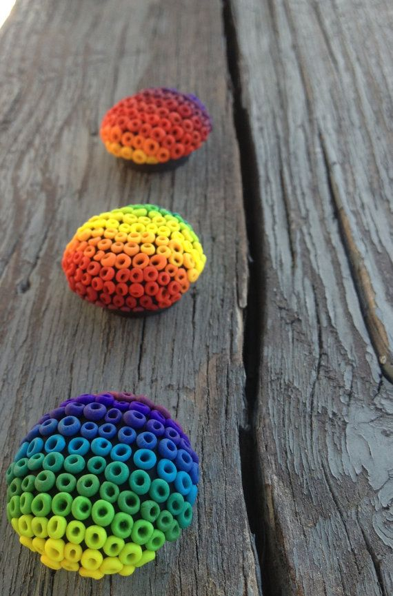Polymer Clay Magnets Ombre Rainbow by sarahbellumshop