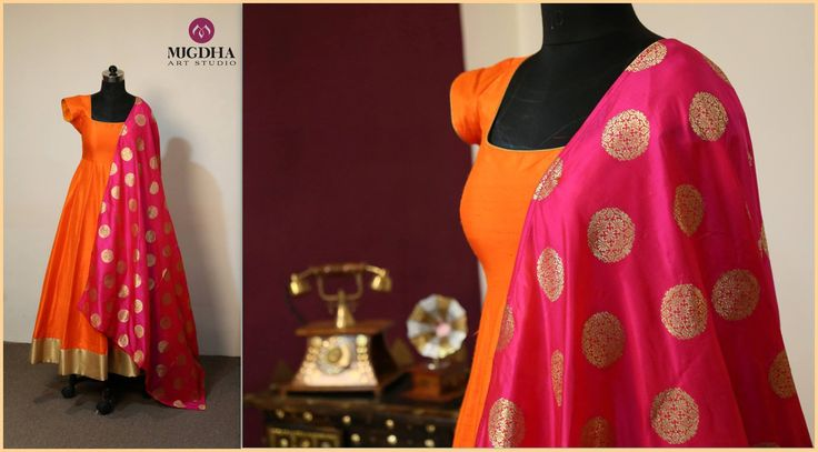 Classy outfit from Mugdha art studio...!!Orange anarkali with pink banaras dhupatta...Grab it soon...!!Code : MA - 83 For orders /enquiries-Wats app - 9010906544Contact - 9949047889/040 65550855Email- mugdha410@gmail.com 08 September 2016