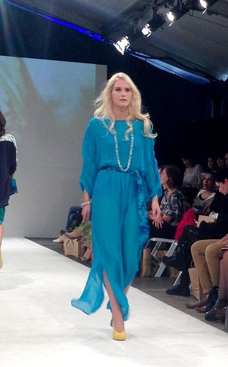 this was a style of clothing that caught my eye (: i liked how it flowed the color is very pretty quite a nice blue i thought it would look cool in different colors too. It looks nice & summery i just really like it, It is by Splashes of bright colour in STARFISH's SS14 collection 'Wild Flower' seen at Wellington Fashion Week!