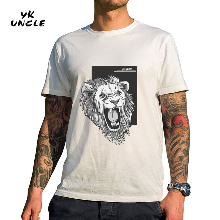 [ $8.39 ] YK UNCLE Brand 2017 Summer #MensClothing O-Neck Short Sleeve #Tshirt #Animal #LionHead #Print T shirts Homme Big Size Color #White