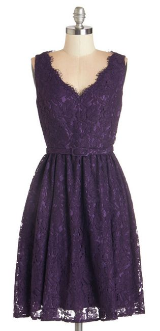 Purple Lace Dress with wide tan belt and cowboy boots for bridesmaids