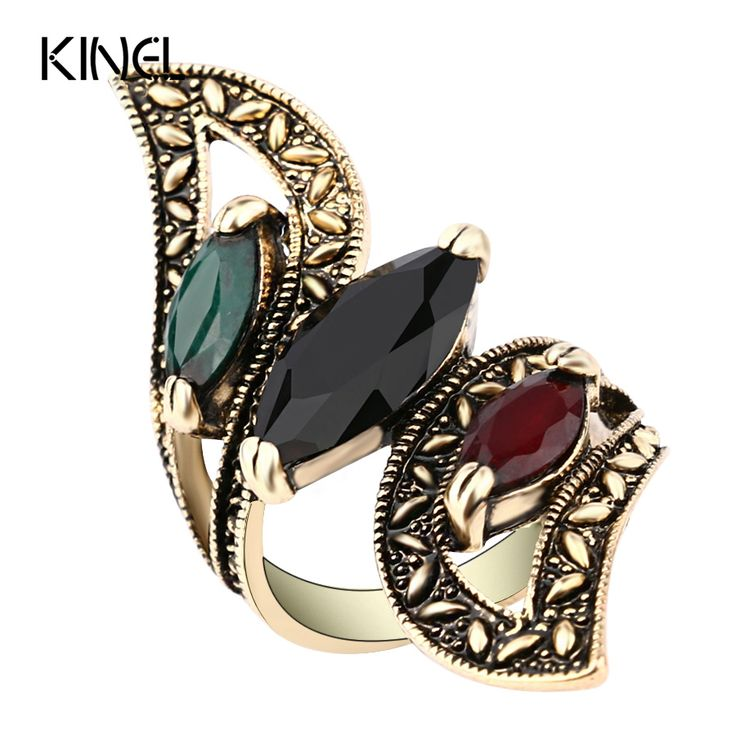 Fashion 2016 Vintage Big Ring Antique Gold Plated Mosaic Colorful Resin Rings For Women Size 6 7 8 9 10 Turkish Jewelry