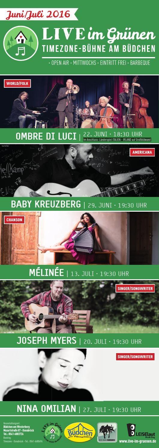 Programm Live im Grünen Juni/Juli 2016