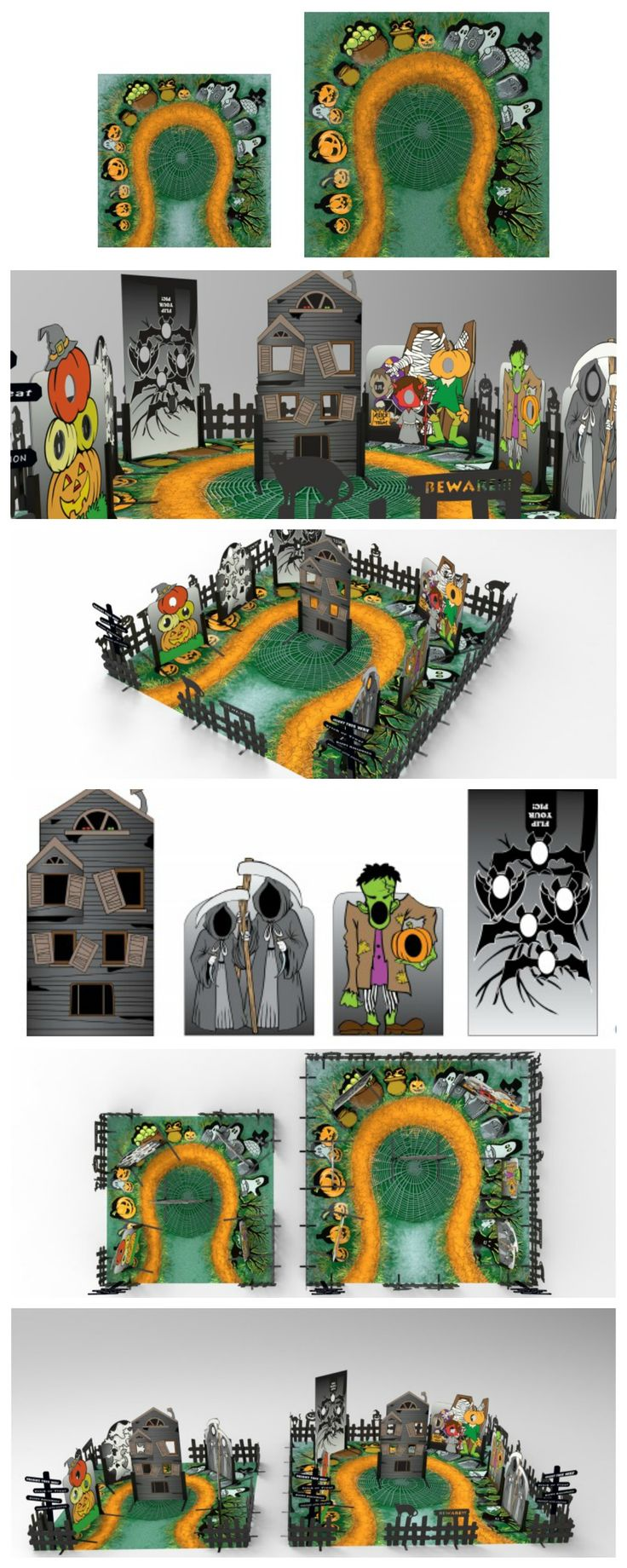 We created a Malloween Adventure for General Growth Properties. Here are the renderings that we designed.