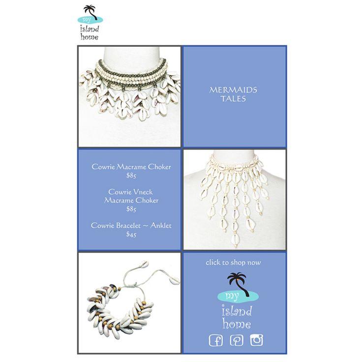 🐚 Mermaids Tales 🐚 #cowrie #shell #choker #bracelet #anklet #beach #jewels #shoponline #myislandhome