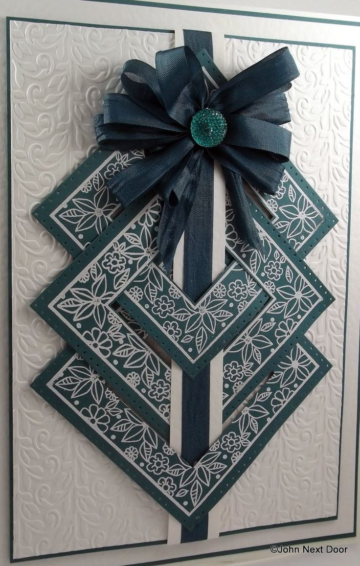 "John Next Door: Time for Teal? ~ What a great way to put a ""dash"" of color, lol, on a card front!! Love the combo & the design idea!! ~KB"