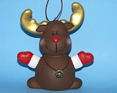 Ceramic Reindeer with Bell Ornament -5.25 inches - hand painted